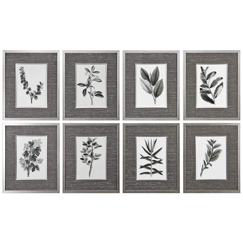 "Uttermost Gray Leaves 23""H 8-Piece Framed Wall Art Print Set"