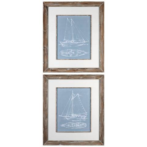 "Yacht Sketches 45""H 2-Piece Framed Wall Art Print Set"