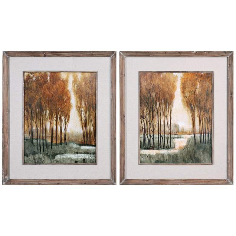 """Golden Forest 43""""H 2-Piece Framed Wall Art Print Set"""