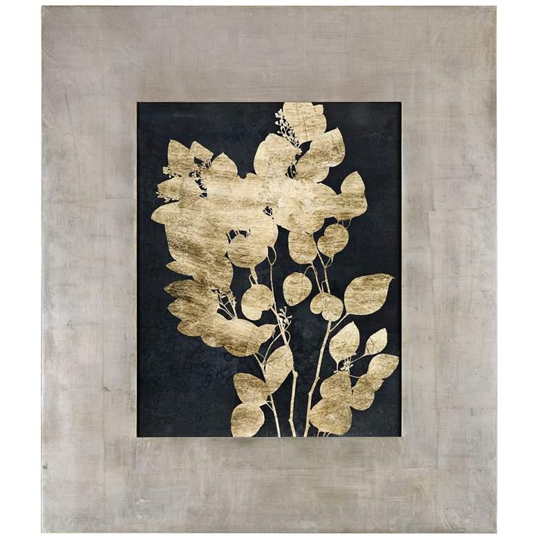 "Postage Leaves 46"" High Gold Foil Framed Wall Art Print"