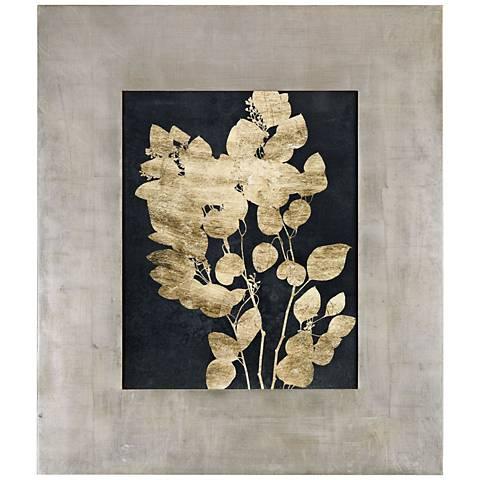 "Postage Leaves 46""H Gold Foil Framed Wall Art Print"