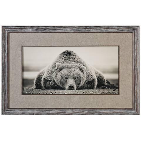 "Deep Sleep 50""W Grizzly Photo Framed Wall Art Print"