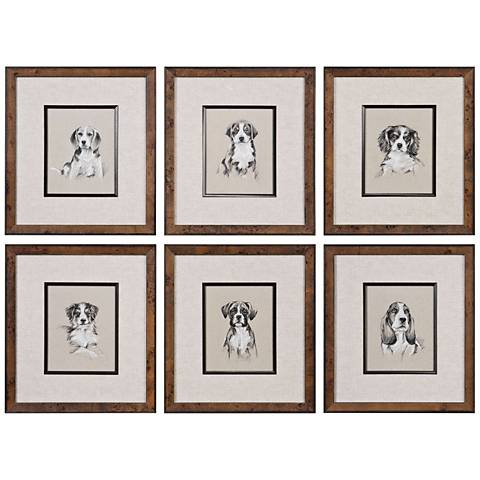 "Uttermost Small Breed 19""H 6-Piece Framed Wall Art Print Set"
