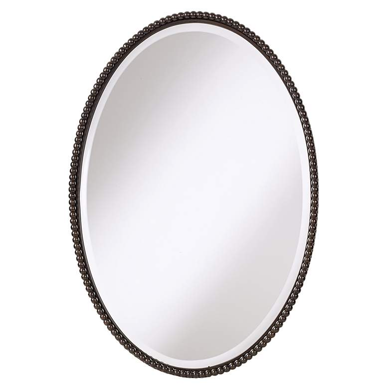 "Uttermost Sherise Bronze Beaded 22"" x 32"" Oval Wall Mirror"