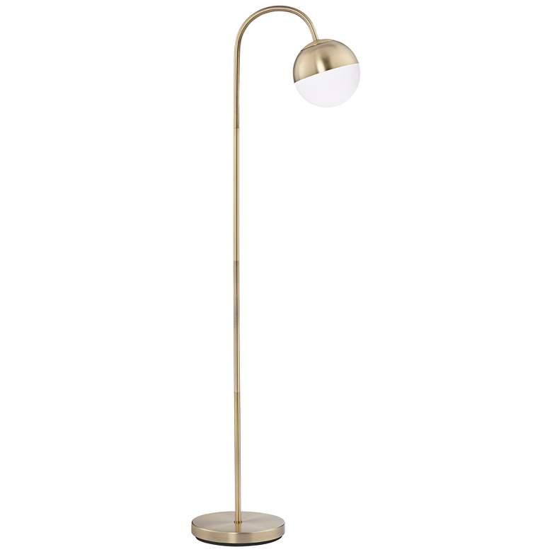 Carlton Antique Brass Glass Globe LED Floor Lamp