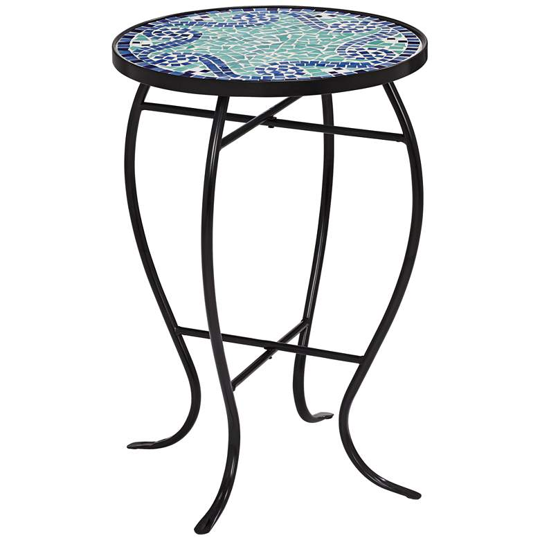 Ocean Wave Mosaic Black Iron Outdoor Accent Table