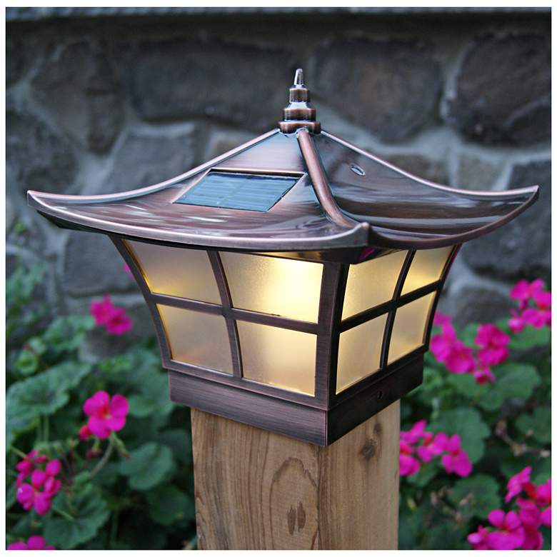 "Ambience 7"" High Copper Plated Outdoor Solar LED Post Cap"