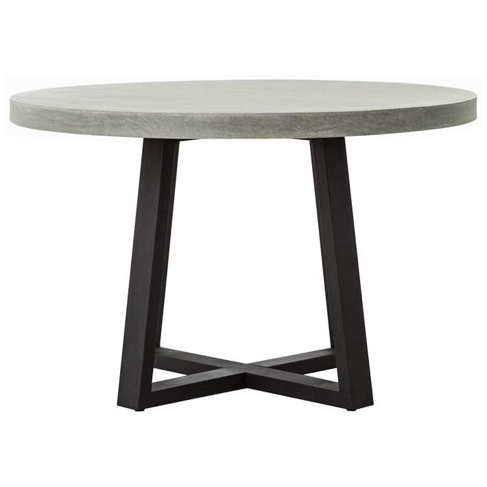 Cyrus 47 1 4 W Gray Lava Stone And Iron, Round Gray Dining Table