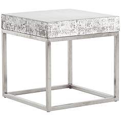 barnard white wash concrete and chrome square end table - White Wash End Tables