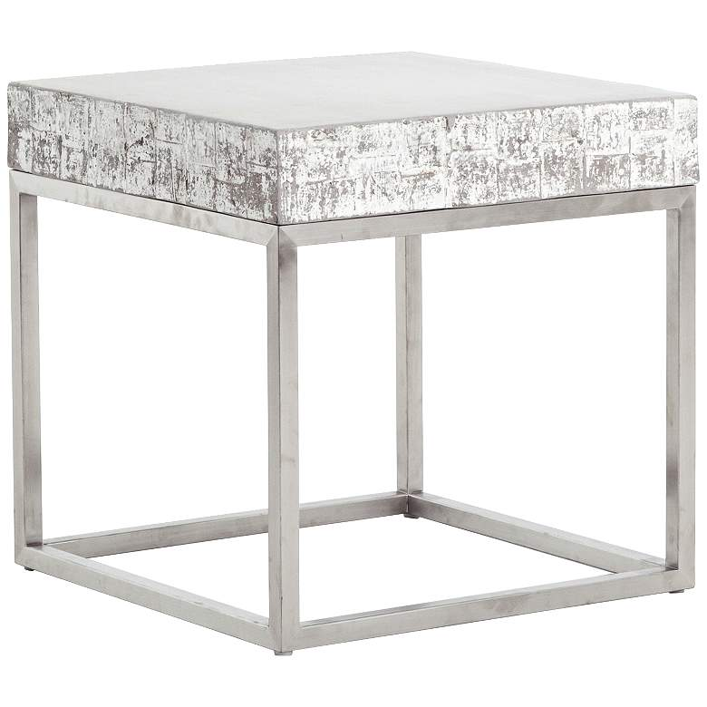 "Barnard 22"" Wide White Wash Concrete Modern End Table"