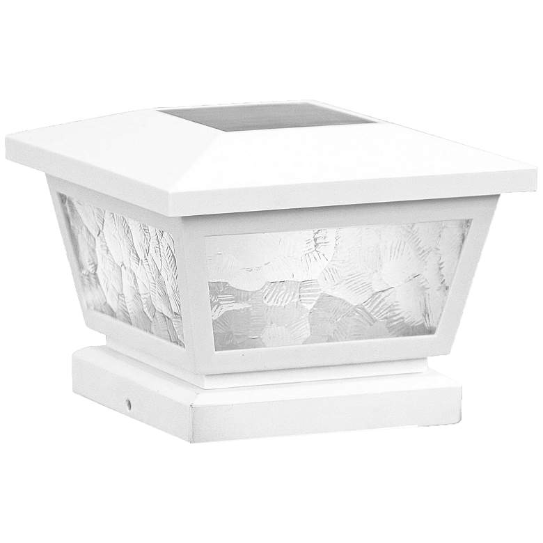 "Fairmont 5"" High White Outdoor Solar LED Post Cap"