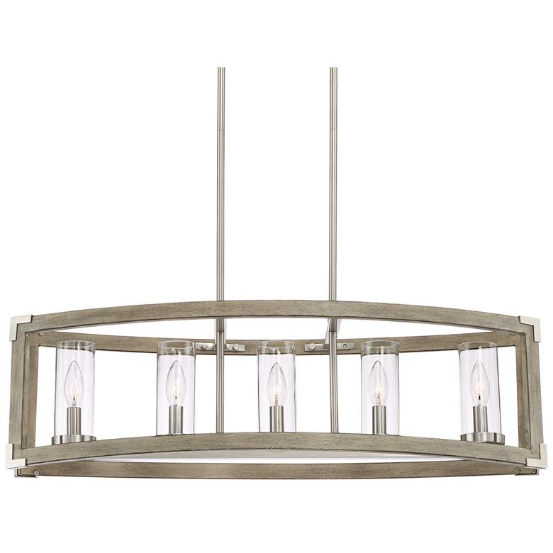 Kerr 32 3 4 Quot Wide Wood And Brushed Nickel 5 Light