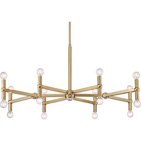 "Possini Euro Marya 37"" Wide Satin Brass 16-Light Chandelier"