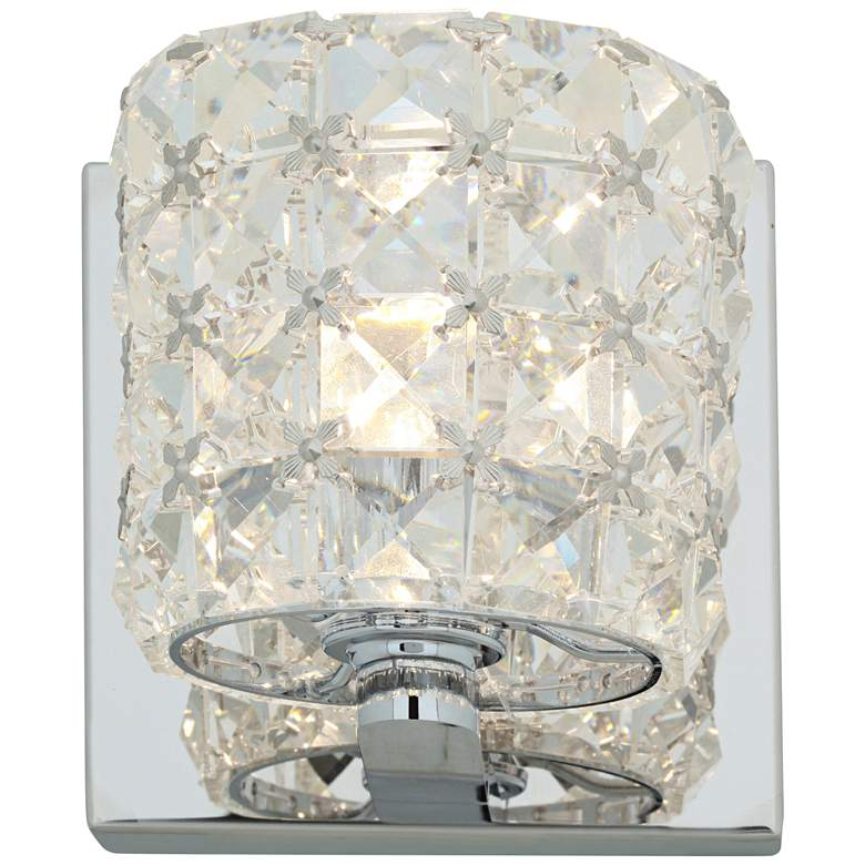 """Prizm 4 3/4"""" High Chrome and Crystal Wall Sconce"""