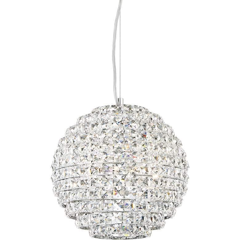 "Possini Euro Gorgo 12"" Wide Chrome Crystal Mini Pendant"