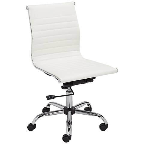 Kammie White Faux Leather Adjustable Office Chair