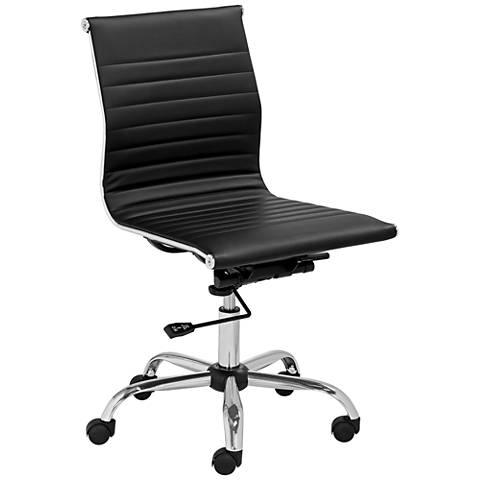 Kammie Black Faux Leather Adjustable Office Chair