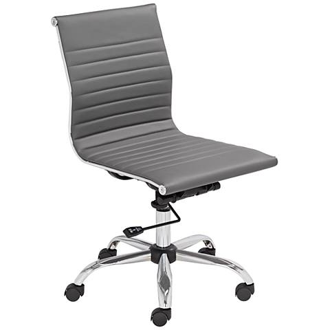 Kammie Gray Faux Leather Adjustable Office Chair