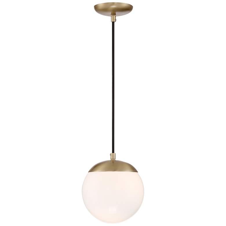 "Weland 8"" Wide Gold and Opal Glass Modern LED Mini Pendant"