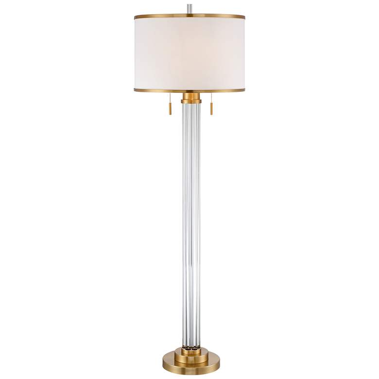 Possini Euro Cadence Crystal Column Floor Lamp Satin Brass