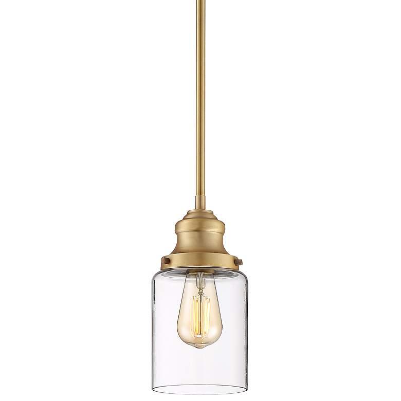 """Possini Euro Millican 5"""" Wide Warm Brass Mini Pendant Light"""