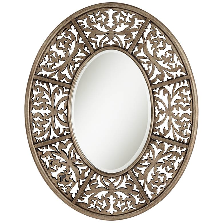 "Lattice Golden Brown 28 3/4"" x 36"" Oval Wall Mirror"
