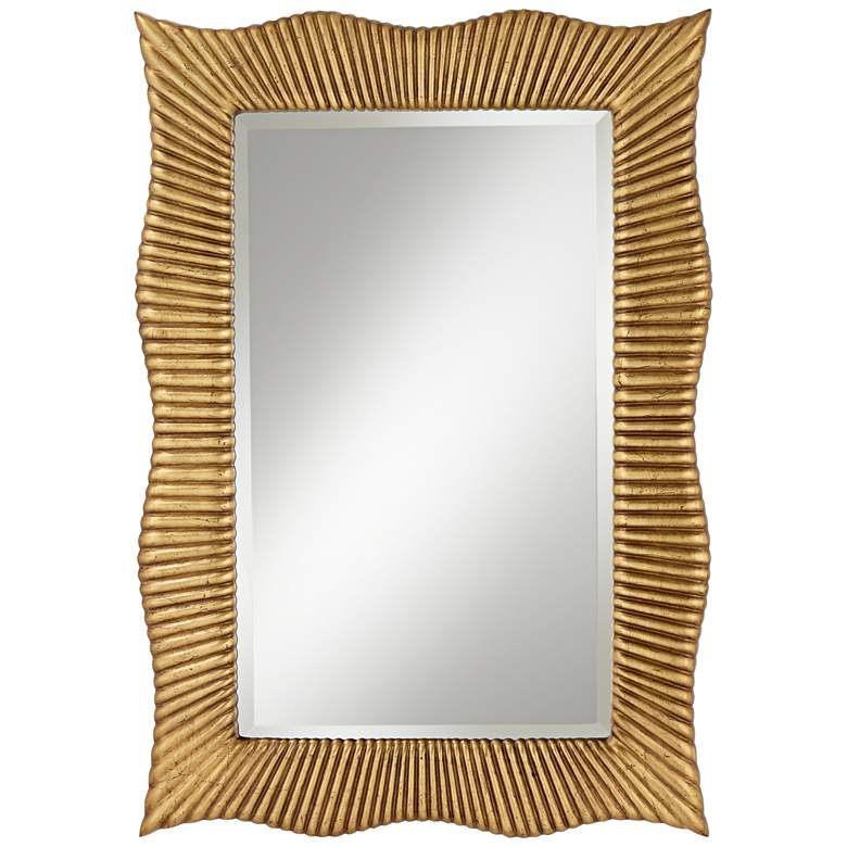 "Wave Gold Ribbed 27 1/2"" x 39"" Rectangular Wall Mirror"