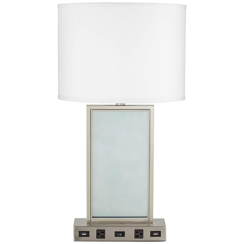 15E01 - Brushed Nickel Table Lamp with 2 USB Ports