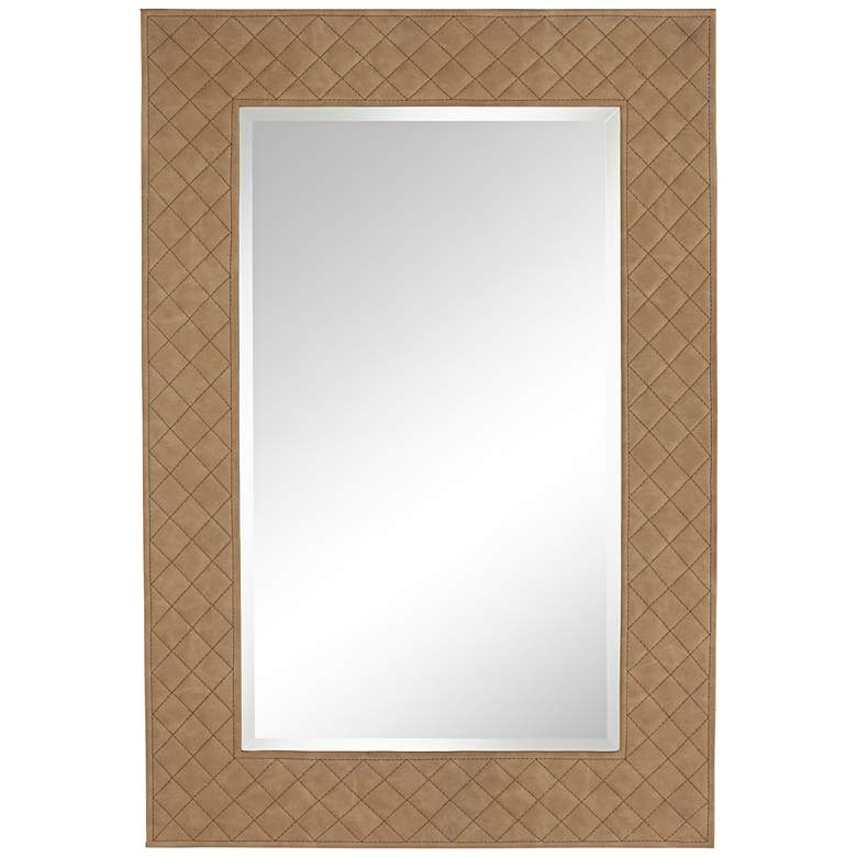 Quilted Mink Sandstone 28 X 41 Framed Wall Mirror 15e24 Lamps Plus