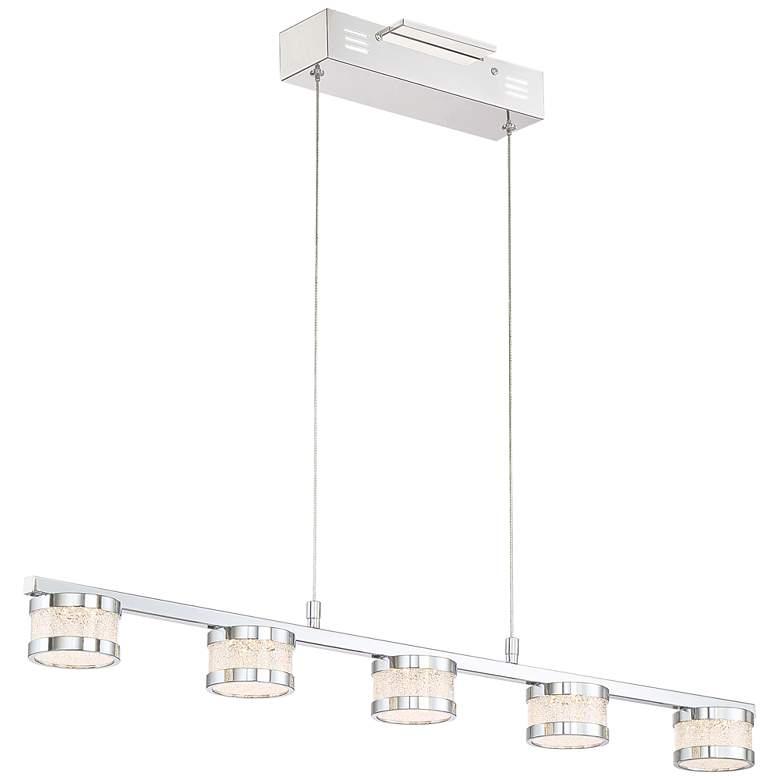 "Liv 35 1/2"" Wide Chrome 5-LED Kitchen Island Light Pendant"
