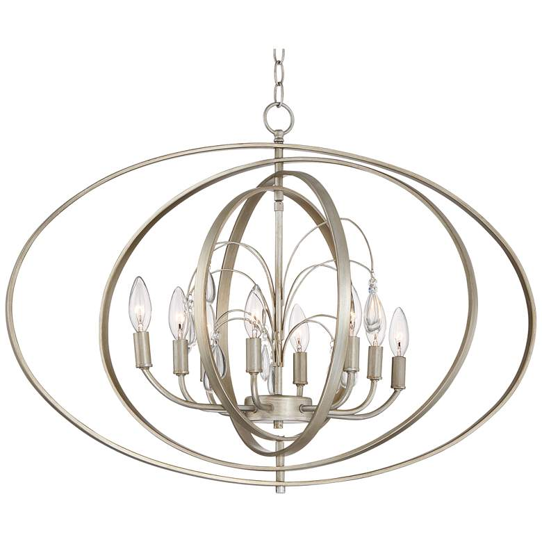 "Possini Euro Tiller 31 1/2"" Wide Satin Silver Pendant Light"