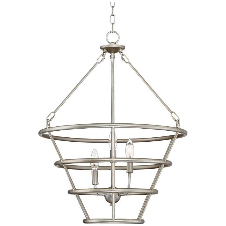 "Possini Euro Houghton 21"" Wide Brushed Steel Pendant Light"