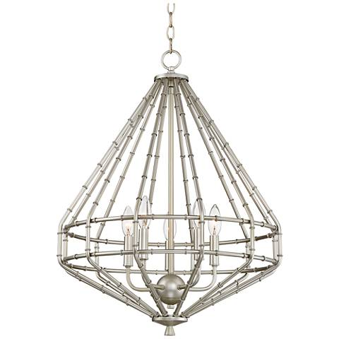 "Possini Euro Kenova 20 3/4"" Wide Silver Leaf Chandelier"