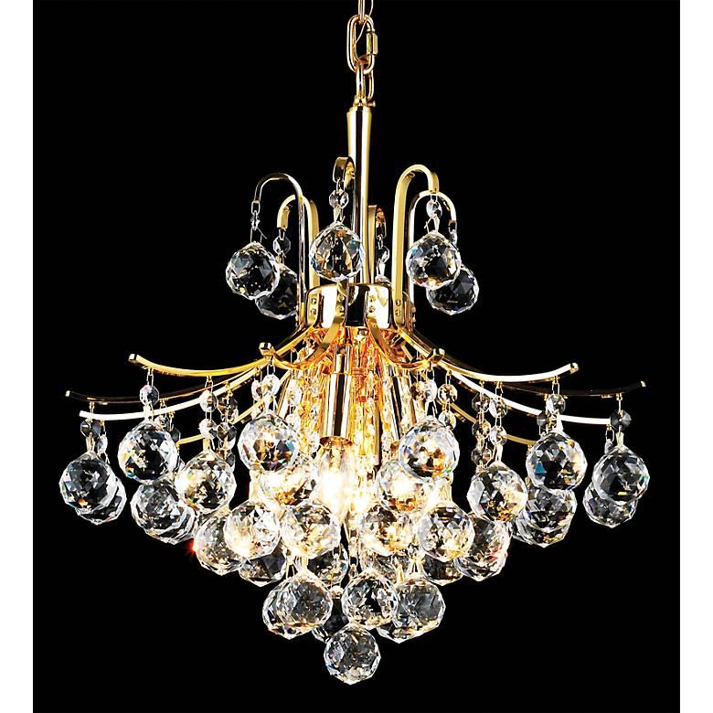 """Toureg 16"""" Wide Gold 6-Light Crystal Chandelier"""
