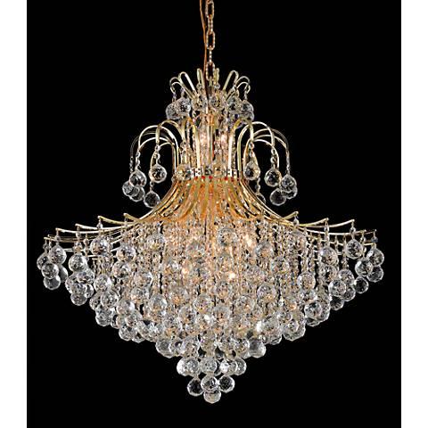 """Toureg 31"""" Wide Gold 15-Light Crystal Chandelier"""