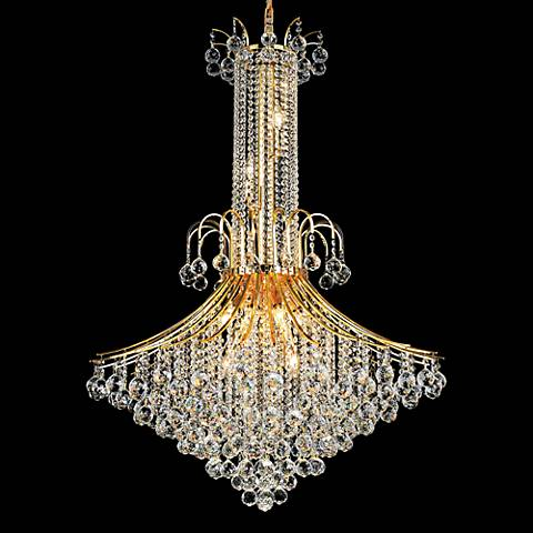 """Toureg 35"""" Wide Gold 16-Light Crystal Chandelier"""