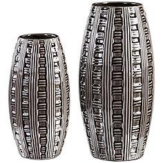 Uttermost Aura Smoke Gray and Ash Black 2-Piece Vase Set