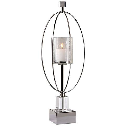 Uttermost Tamra Polished Silver Pillar Candle Holder