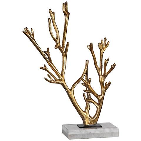 "Uttermost Golden Coral 17""H Antiqued Metallic Gold Sculpture"