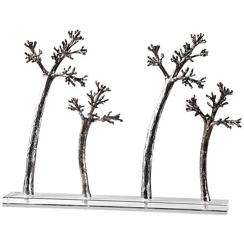 "Uttermost Blowing Trees 21"" Wide Tarnished Silver Sculpture"