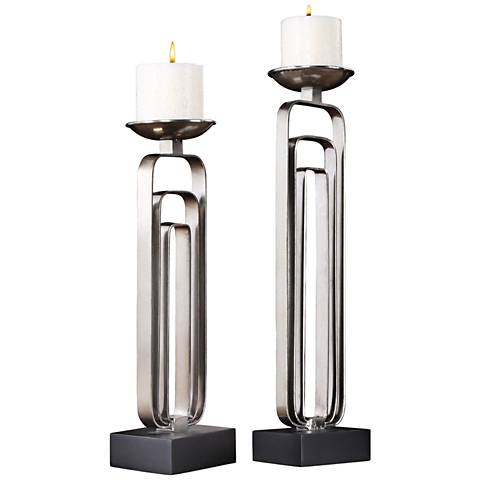 Uttermost Cosme Steel 2-Piece Pillar Candle Holder Set