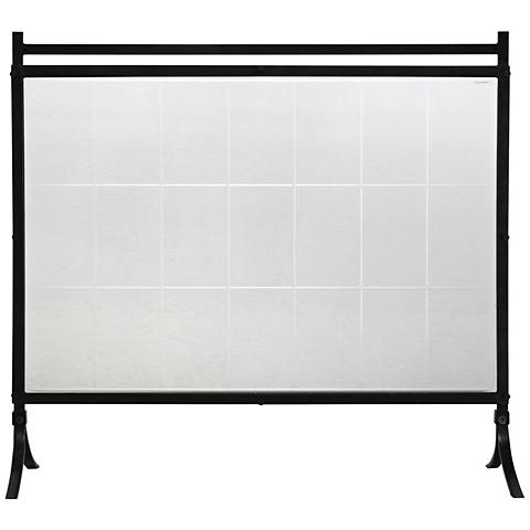 "Uttermost Tate Black Iron Glass 33 1/4""H Fireplace Screen"