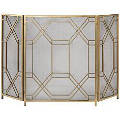 "Uttermost Rosen Antiqued Gold Leaf 34""H Fireplace Screen"