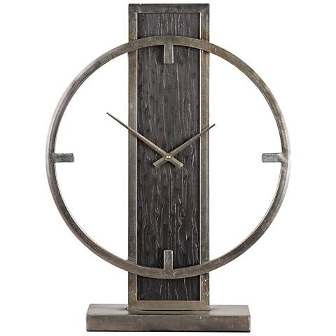 """Uttermost Nico Antiqued Silver Champagne 20""""H Table Clock"""