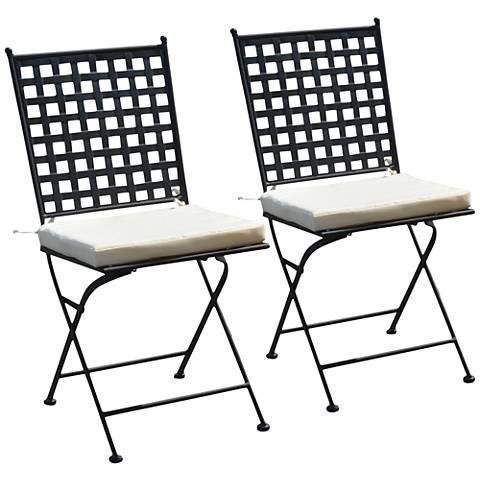 Nantucket Black Iron Outdoor Folding Chair Set of 2