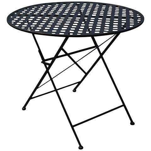 Nantucket Black Iron Round Outdoor Folding Table