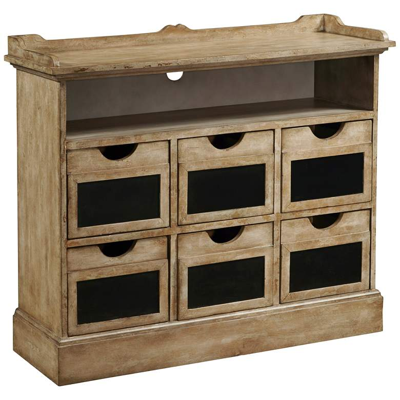 """Final Straw 38"""" Wide Rustic Wood 6-Drawer Cabinet"""
