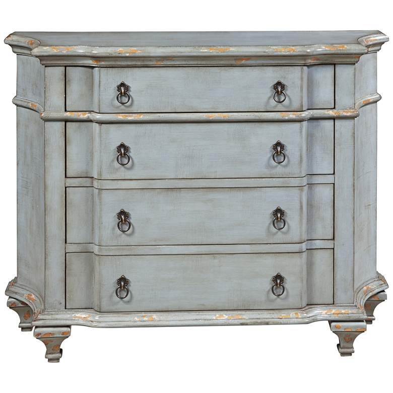 "French 45 1/2"" Wide 4-Drawer Distressed Blue Accent"