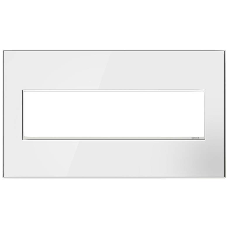 adorne® Mirror White on White 4-Gang Metal Wall Plate
