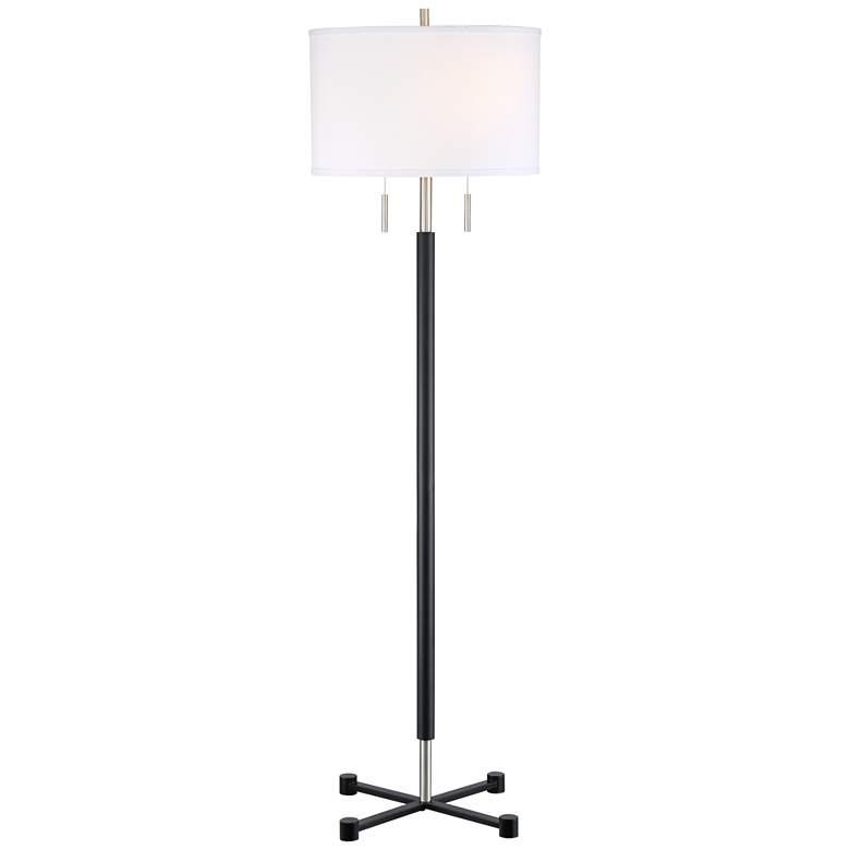 Possini Euro Mirano Modern Black Floor Lamp